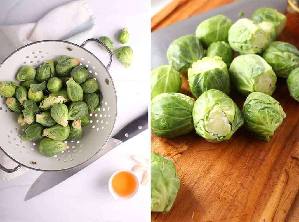 side by side image of brussels sprouts in a white colander on the left and with the root ends trimmed off on a wooden cutting board on the right