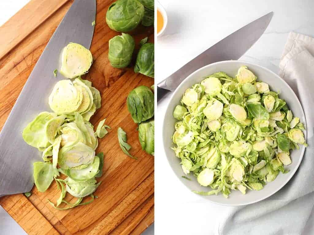 side by side image of brussels sprouts being sliced with a chef's knife on a cutting board on the left, and a bowl of sliced brussels sprouts on the right