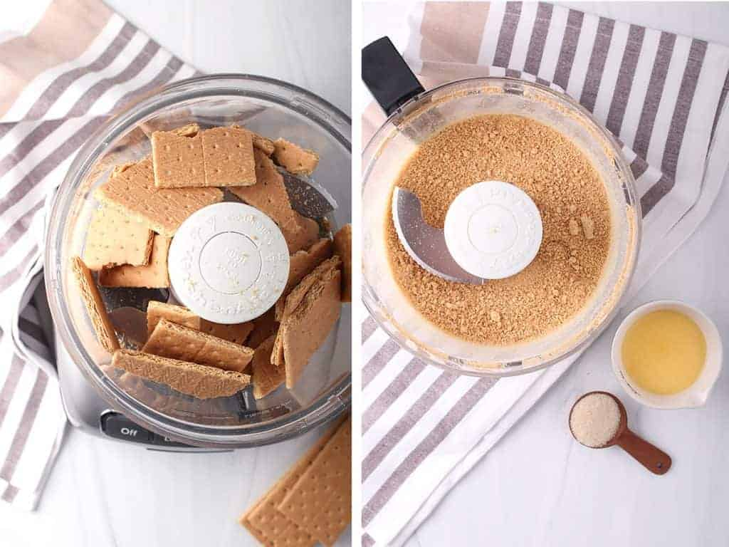 side by side images - sheets of grahama crackers roughly broken into pieces in food processor on left, graham crackers pulverized into crumbs on right