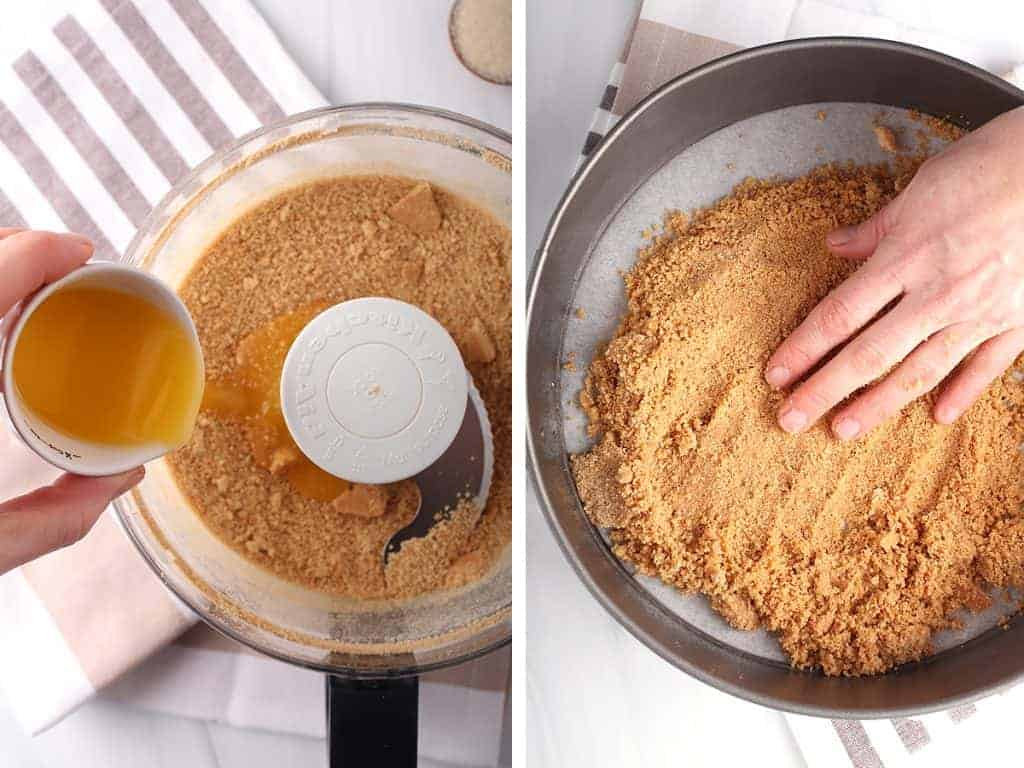 side by side images - hand pouring butter into food processor bowl with graham cracker crumbs on the left, hand pressing crust into springform pan on the right