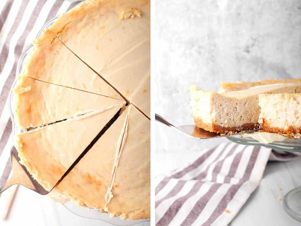 side by side images - overhead shot of pie server under a slice of vegan cheesecake on left, and a sideways shot of pie server pulling out a slice of vegan cheesecake from a cake stand on the right
