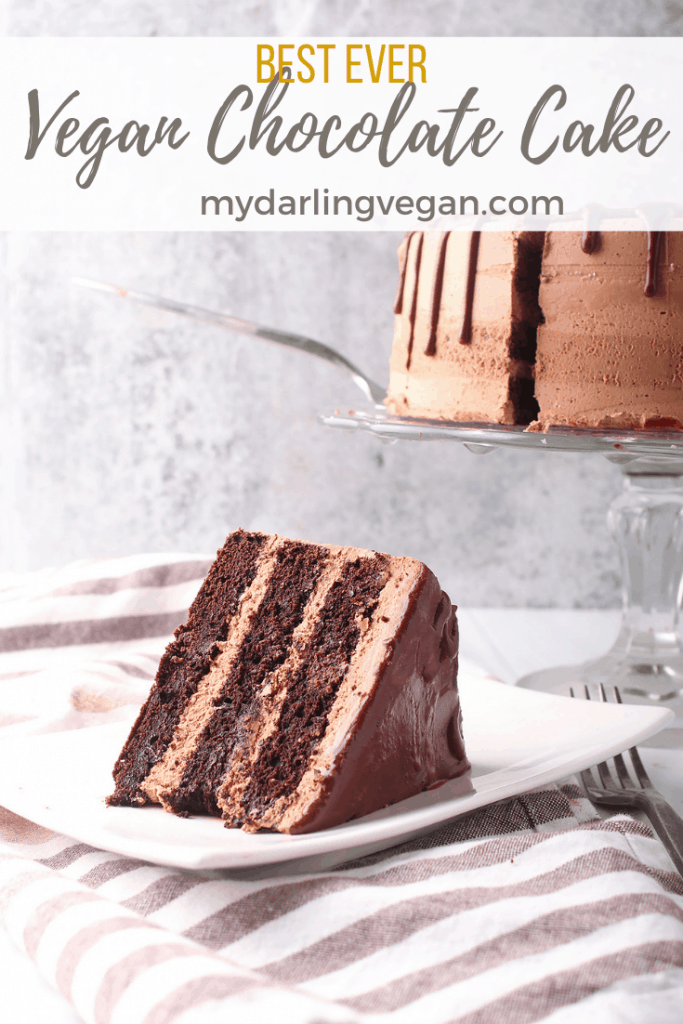 This vegan chocolate cake is ultra rich and moist with a delicate crumb. Top it with silky smooth buttercream for the perfect sweet treat everyone will love. It's a nearly fail-proof dessert.