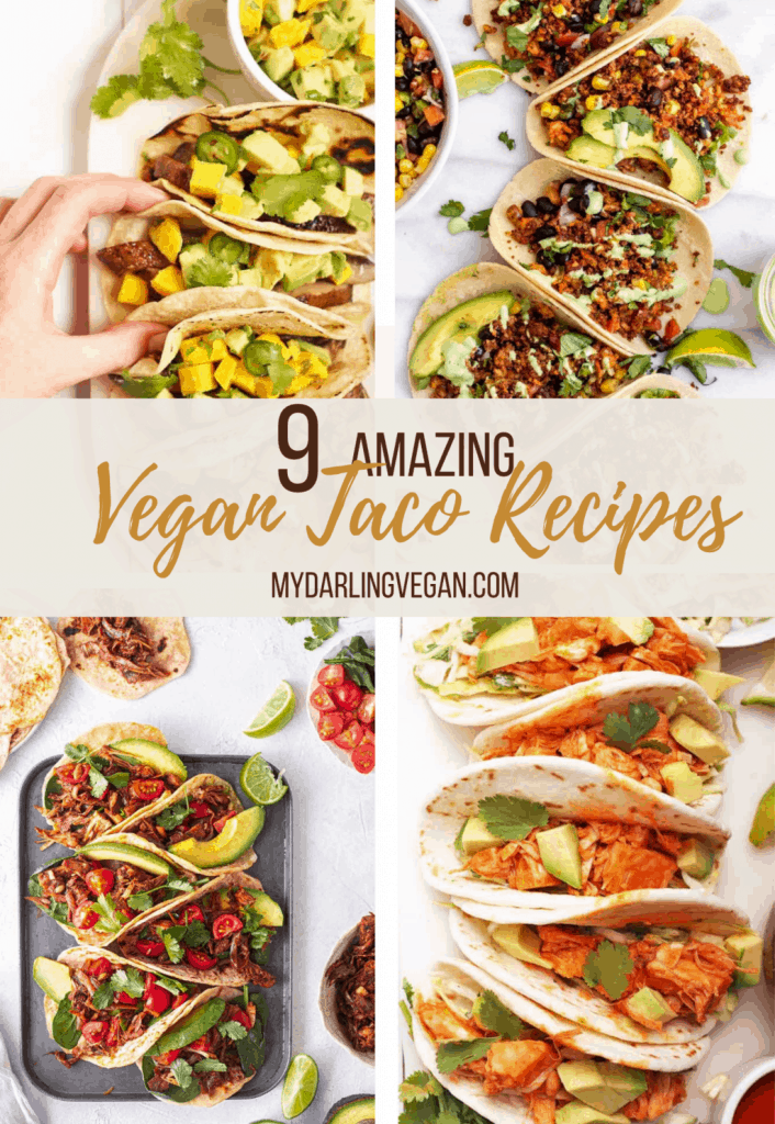 A collage of four vegan taco recipes.