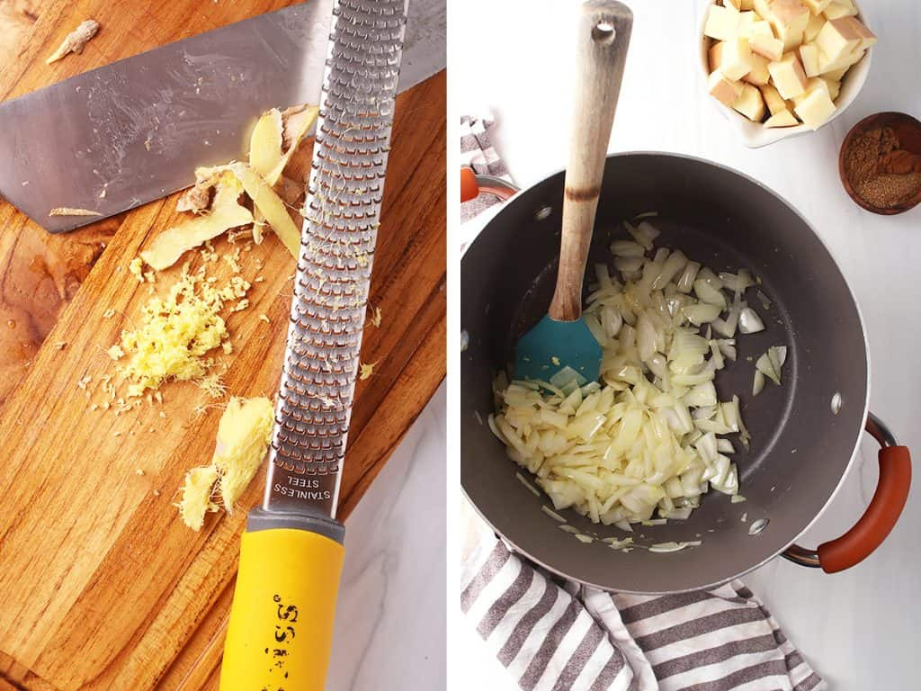 side by side images of a microplane grating ginger on the left, and onions sautéing in a dutch oven on the right