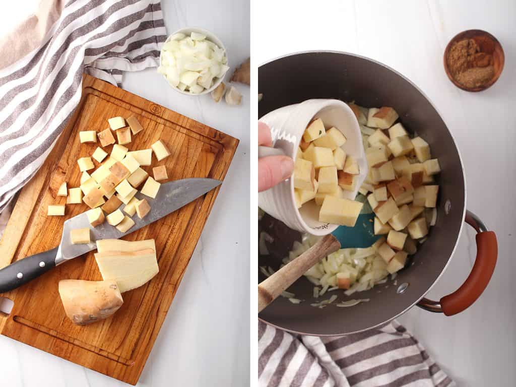 side by side images of sweet potatoes being diced on a wooden cutting board on the left, and a hand adding sweet potato cubes to the dutch oven on the right