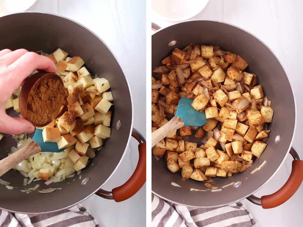 side by side images of hand adding spice mix to dutch oven on the left, and sweet potatoes and onions coated with spice mix on the right