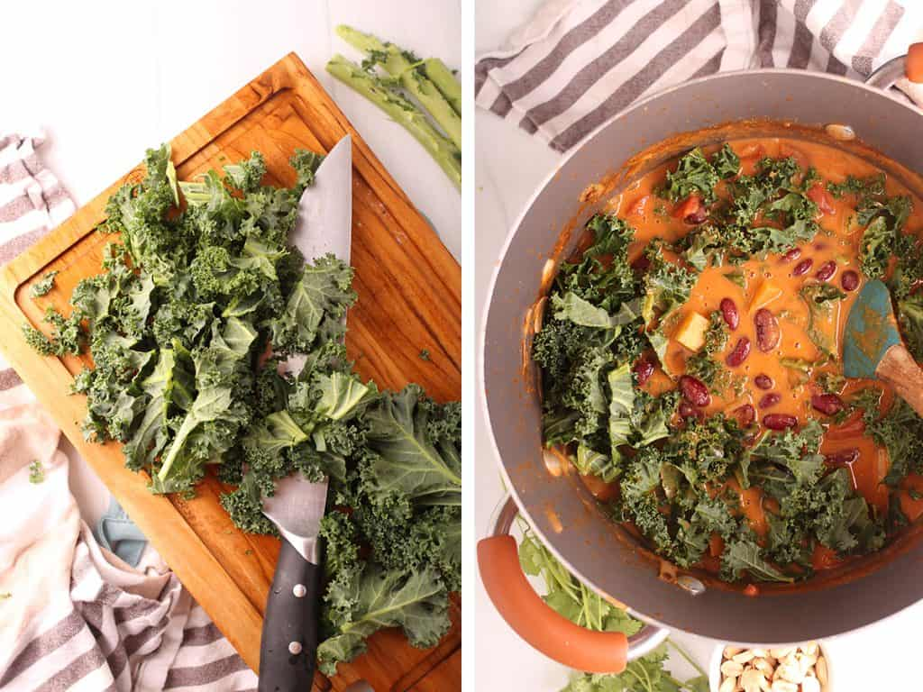 side by side images of kale being prepped on a wooden cutting board on the left, and kale and beans added to the peanut stew on the right