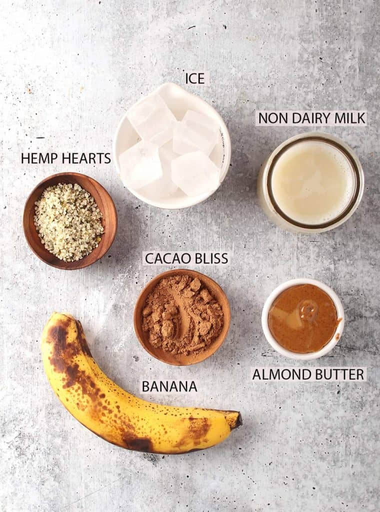 mise en place for chocolate breakfast smoothie recipe laid out on a grey table
