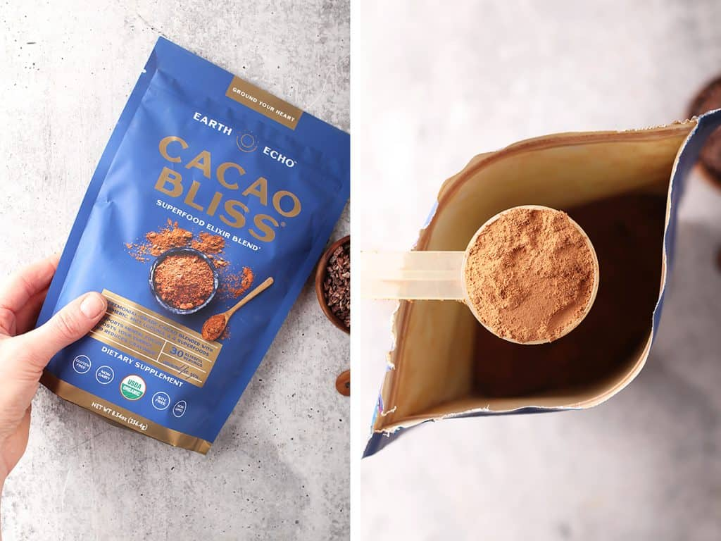 side by side images of a hand holding a bag of cacao bliss on the left and a small scoop of cacao bliss on the right