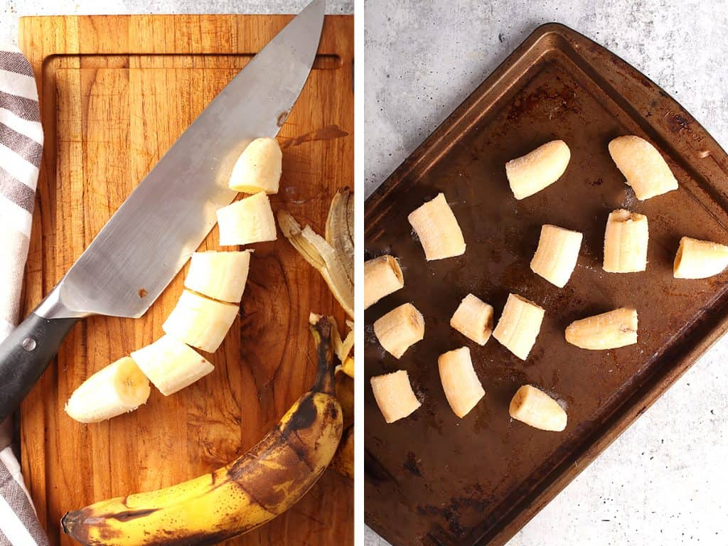 side by side images of a chef's knife next to sliced banana on a wooden cutting board on the left, and banana slices on a cookie sheet for freezing on the right