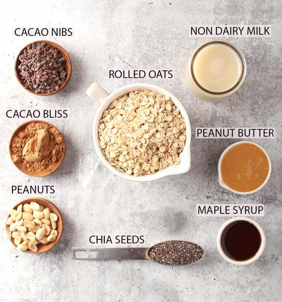 ingredients laid out on a grey table for making chocolate peanut butter overnight oats recipe