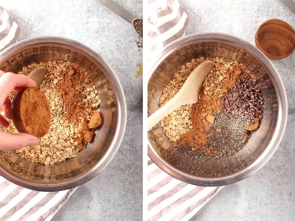 side by side images of hand shaking in cacao bliss into a bowl of oats on the left, and a silver mixing bowl with all of the dry ingredients for overnight oats on the right