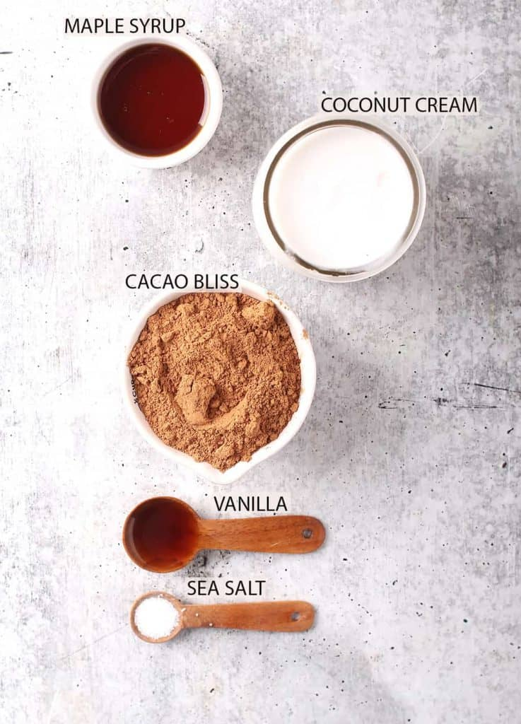 ingredients for healthy coconut cream chocolate pudding recipe laid out on a grey table
