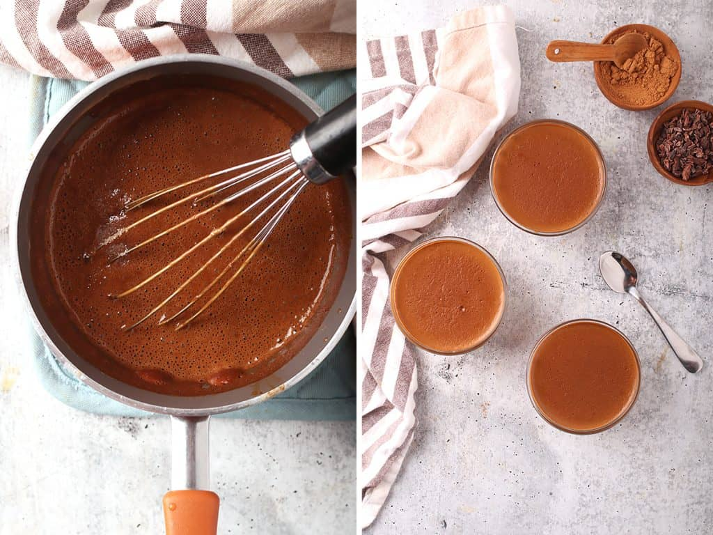 side by side images of a whisk in a saucepan of vegan chocolate pudding on the left, and three cups of healthy chocolate pudding on a grey table on the right