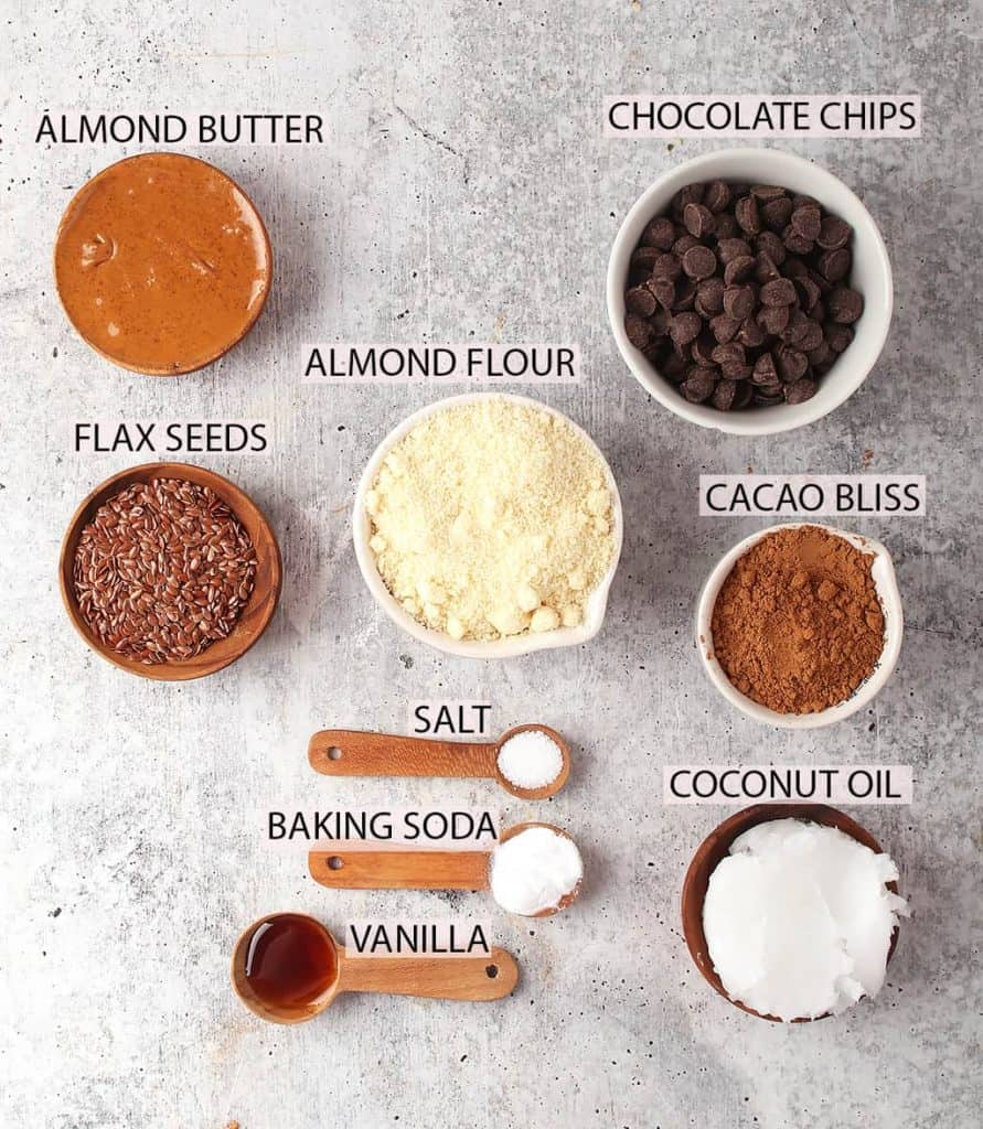 ingredients for gluten free vegan fudgy brownie recipe laid out on a grey table