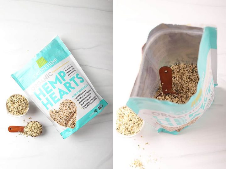 side by side photos of a bag of eaton hemp hemp hearts on its side on the left, and an open bag of help hearts with a wooden tablespoon on the right