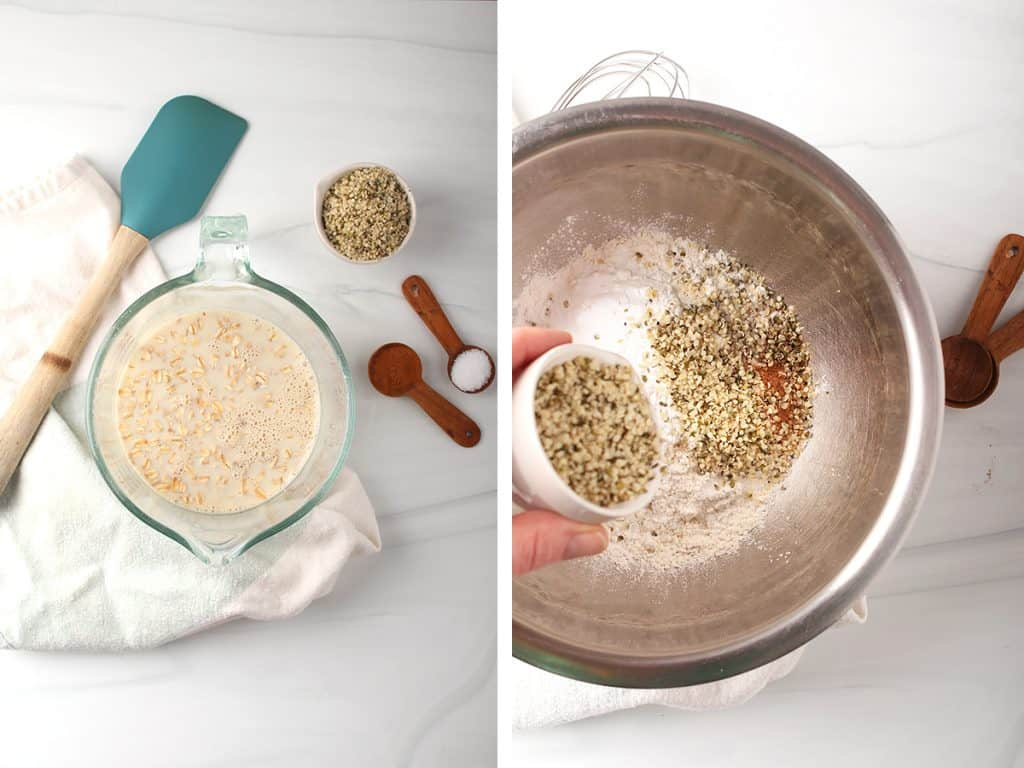 side by side images of a large glass measuring cup with oats and alternative milk on the left, and dry ingredients for muffins in a mixing bowl on the right
