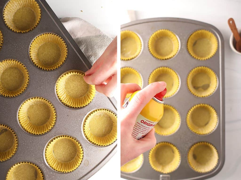 side by side images of a hand placing paper muffin liners in a muffin tin on the left, and spraying muffin liners with nonstick spray on the right