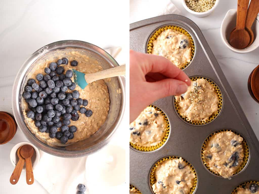 side by side photos with a mixing bowl filled with healthy muffin batter topped with blueberries to be folded in on the left, and hand sprinkling hemp hearts atop unbaked muffins on the right
