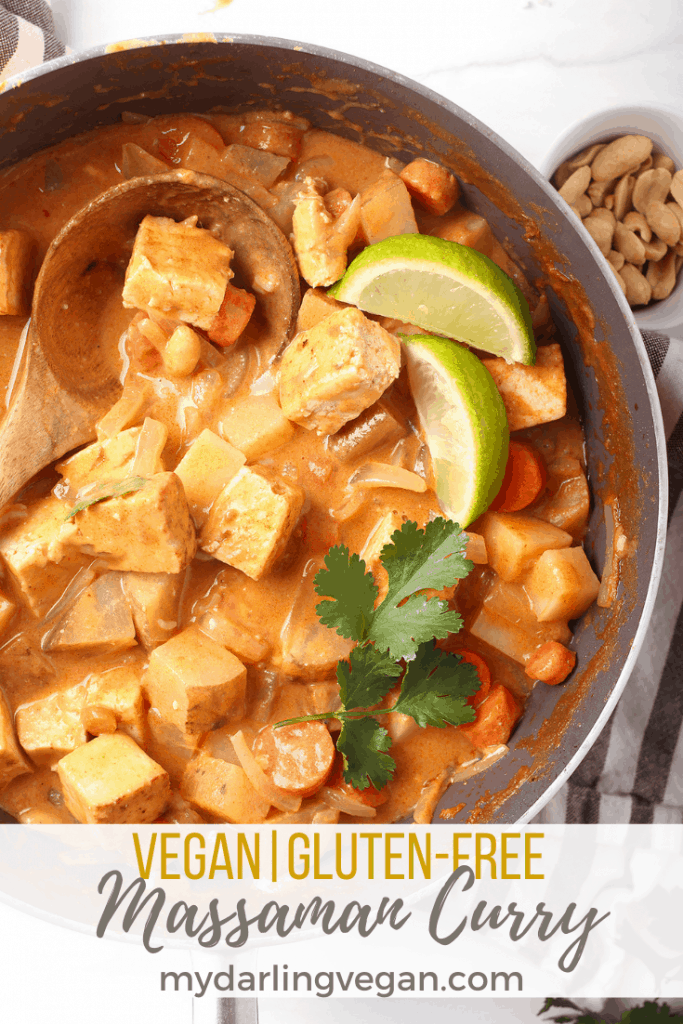 This delicious recipe for Vegan Massaman Curry is loaded with tofu, potatoes, carrots and onions smothered in a delightful, lightly spiced sauce. Skip the takeout and make your favorite Thai curry at home instead. It'll be on the table in just 40 minutes!