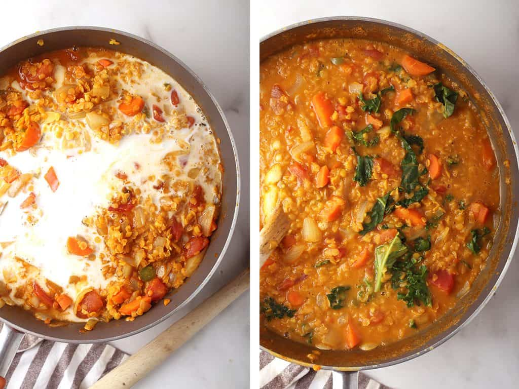 side by side images of coconut milk added to skillet on the left, and completed red lentil dahl in the skillet on the right