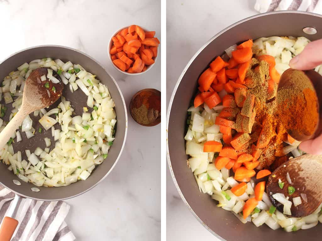 side by side images of onion, jalapeño, garlic and ginger sautéing in a skillet on the left, and dried spices and carrots added to the skillet on the right