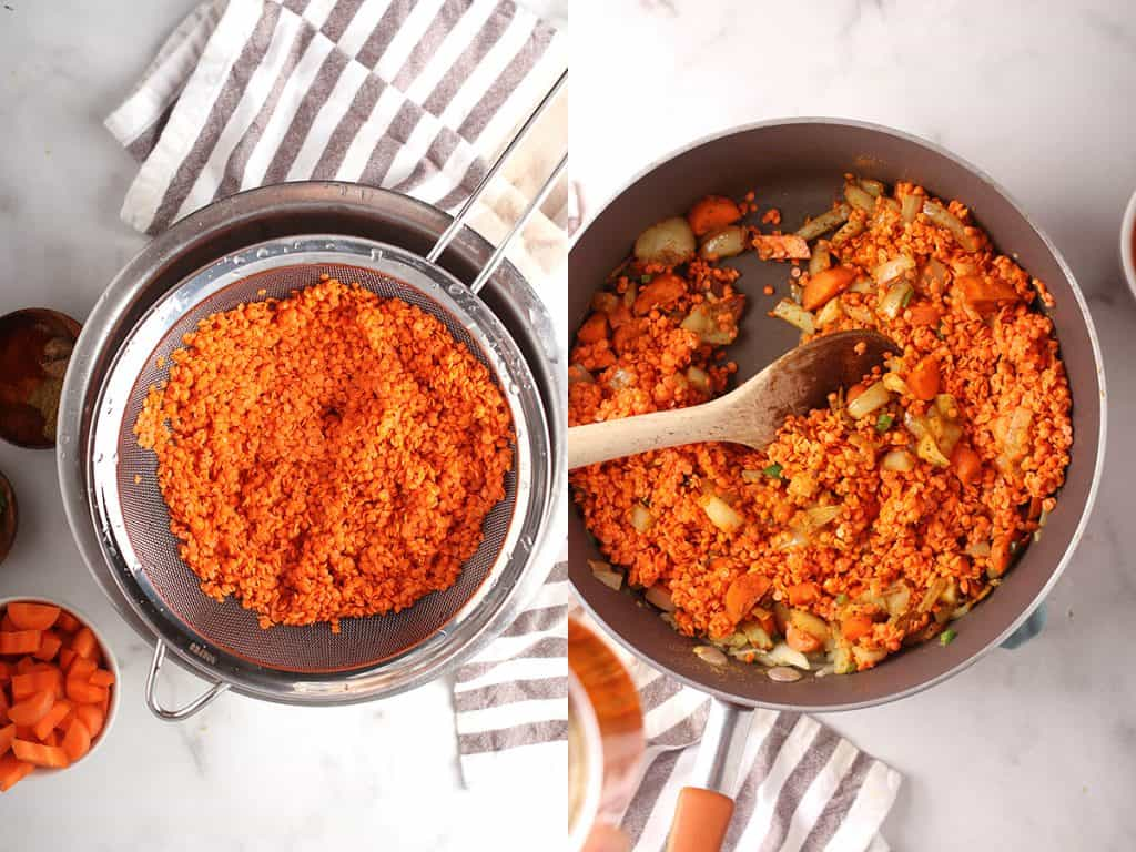 side by side images of lentils draining in a mesh strainer on the left, and lentils added to skillet with carrot and aromatics on the right