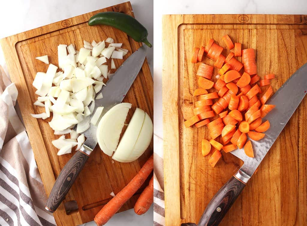 side by side images of an onion being chopped on a wooden cutting board on the left, and carrots being chopped on a wooden cutting board on the right