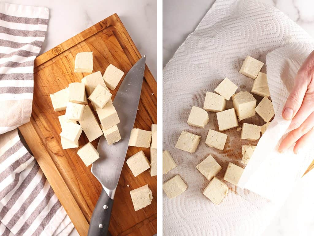 side by side images of tofu being cubed on a wooden cutting board on the left, and a hand pressing the tofu cubes with paper towels on the right