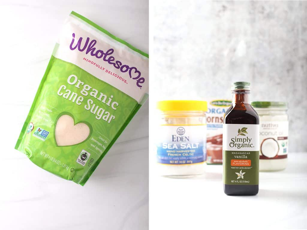 side by side images of a bag of wholesome brand organic cane sugar on the left and a bottle of simply organic vanilla on the right