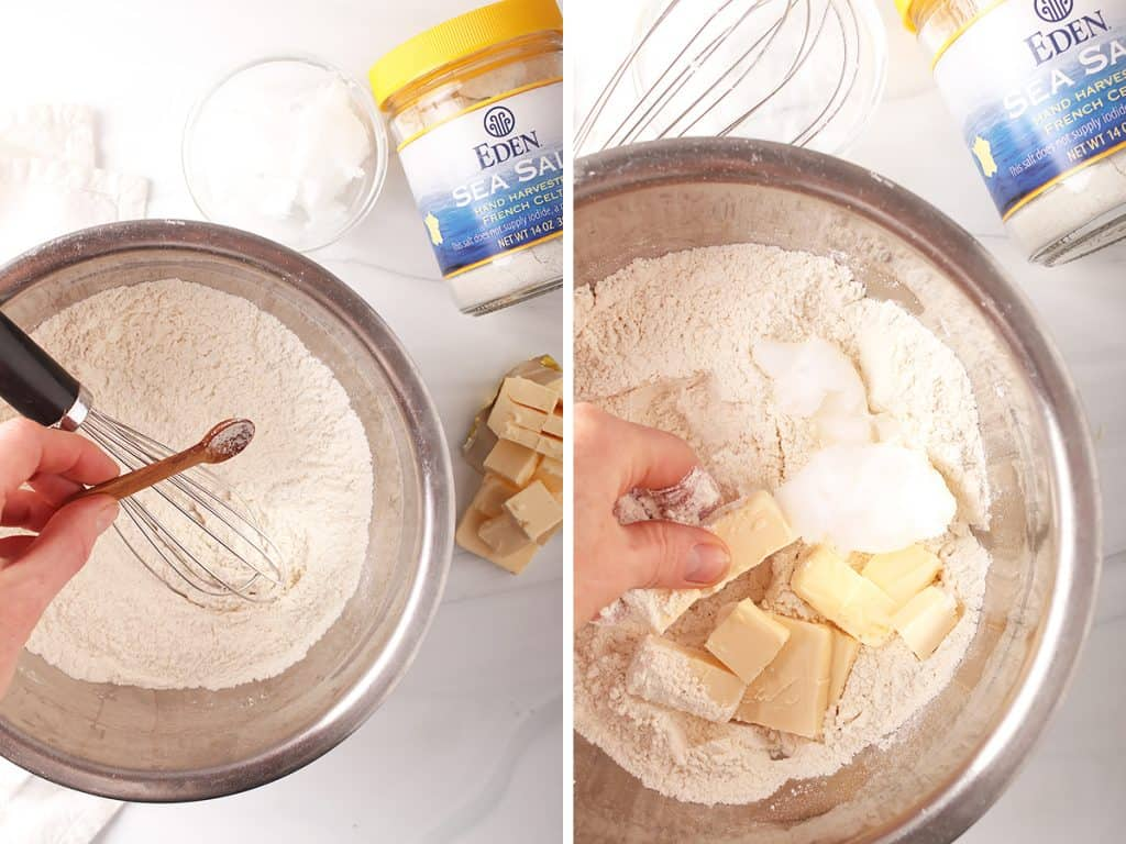 side by side images of a hand adding salt to a mixing bowl with flour on the left, and hands rubbing butter into the flour on the right