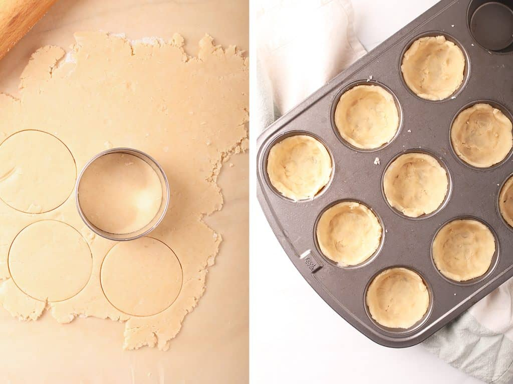 side by side images showing a rolled out piece of pie dough on parchment with a biscuit cutter on the right, and a muffin tin lined with mini pie crusts on the right