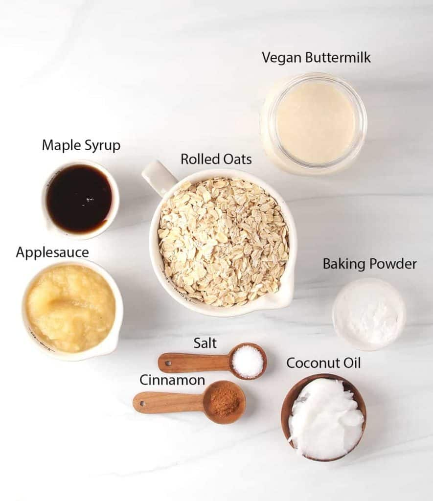 ingredients for easy blender oatmeal pancakes recipe measured out on a white table