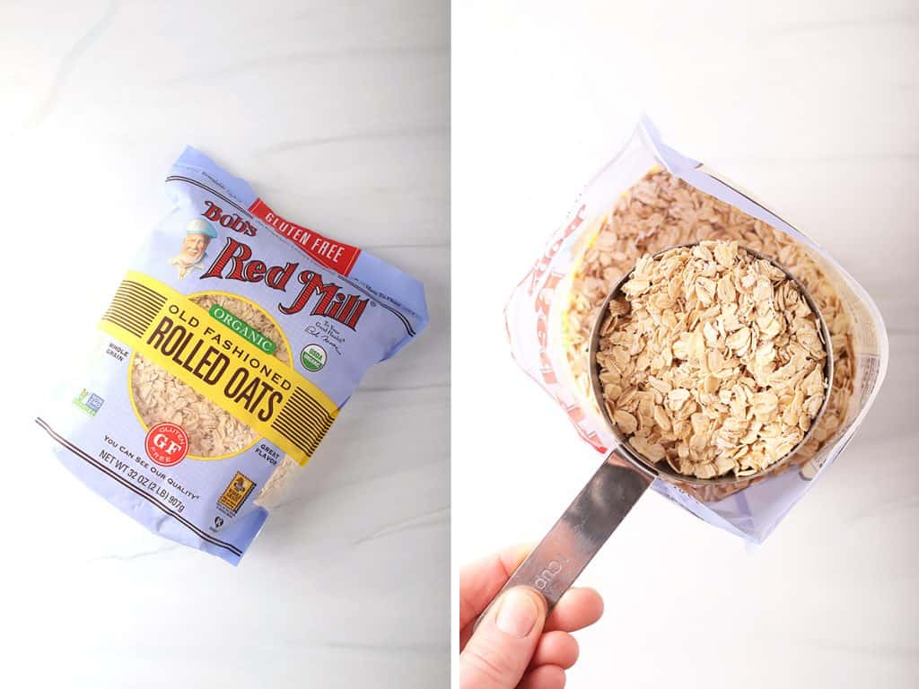 side by side images of a bag of bob's red mill organic old fashioned rolled oats on a table on the left, and a hand holding a measuring cup of rolled oats on the right