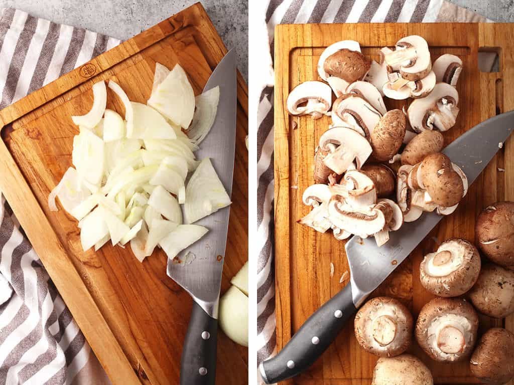side by side images of sliced onions on a cutting board on the left, and sliced mushrooms on a cutting board on the right