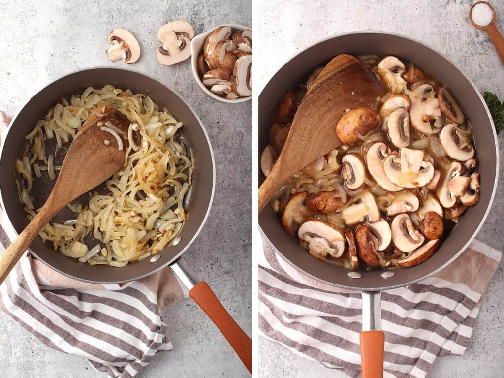 side by side images of onions caramelizing in a pan on the left, and mushrooms added to the pan on the right