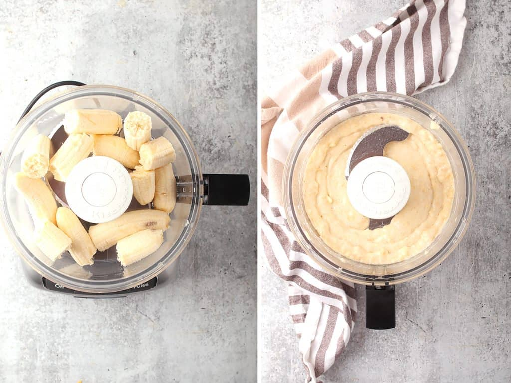 side by side images of banana pieces in a food processor bowl on the left, and smooth banana paste on the right