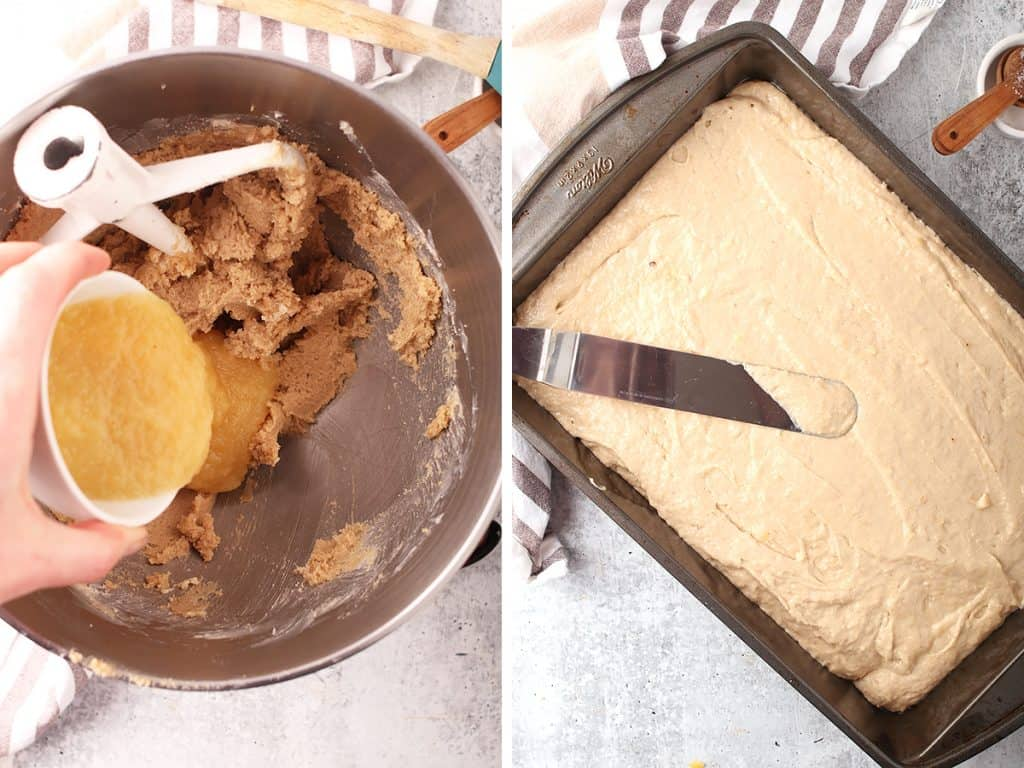 side by side images of a hand pouring applesauce into vegan banana cake batter on the left, and smoothing the completed batter in a 9x13 pan on the right