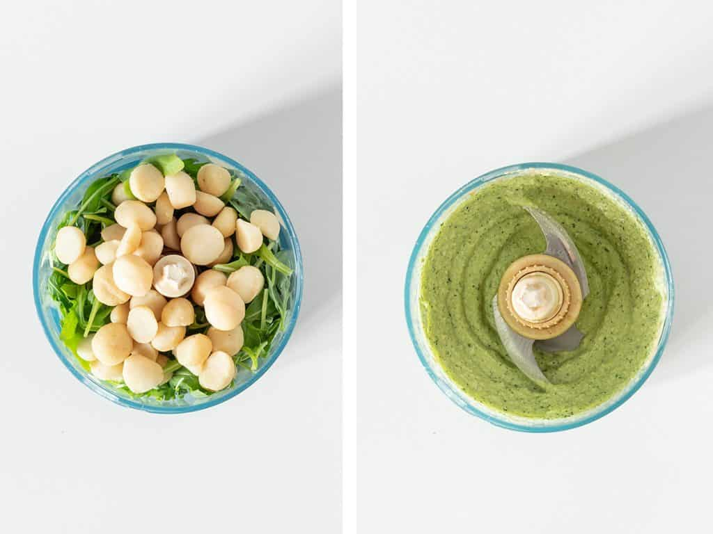 side by side images of vegan pesto ingredients in their whole form in a food processor on the left, and blended to pesto perfection on the right