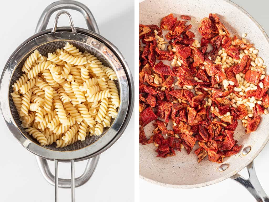 side by side images of draining pasta on the left and sun dried tomatoes being sautéed with garlic and pine nuts on the right