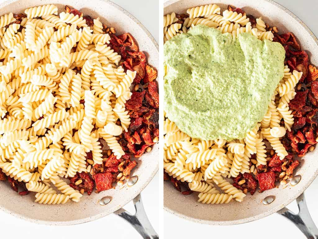 side by side images of pasta and pesto being added to the pan with the tomatoes and pine nuts