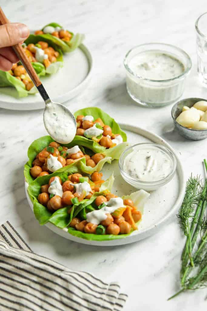 Vegan Lettuce Wraps with Buffalo Chickpeas served with vegan ranch dressing