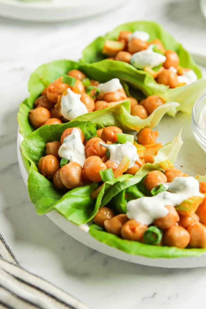 Vegan Lettuce Wraps with Buffalo Chickpeas and vegan ranch