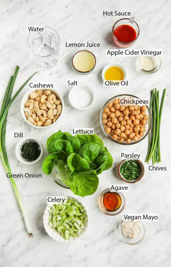 Ingredients for Vegan Lettuce Wraps with Buffalo Chickpeas and vegan ranch