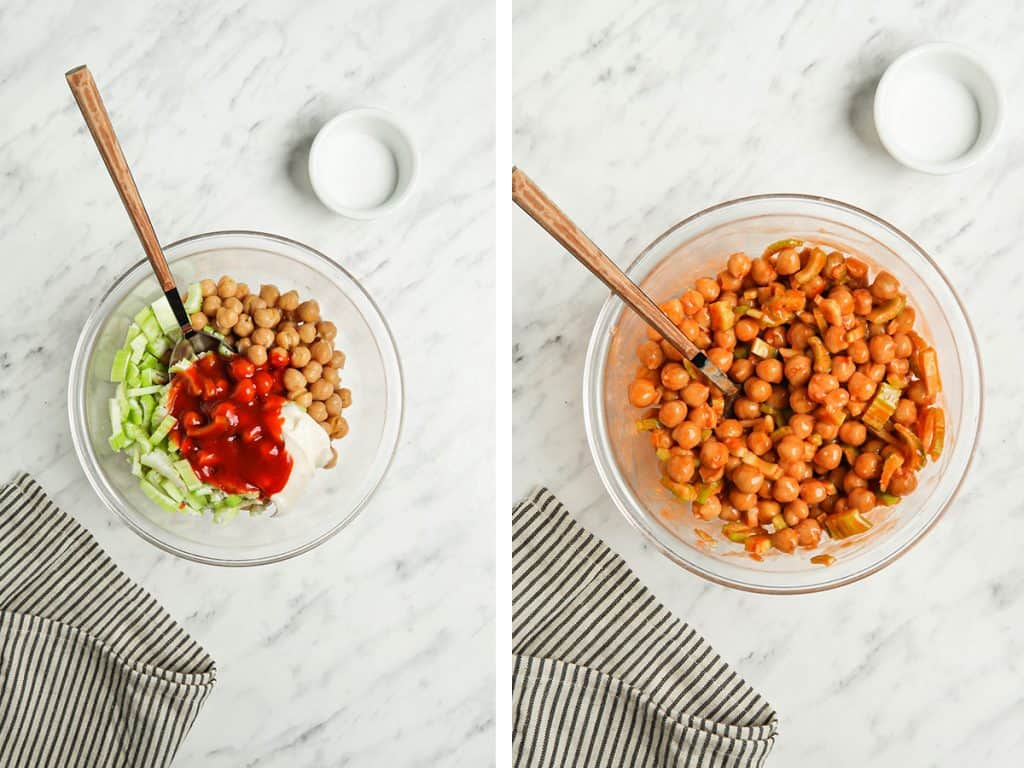 Vegan buffalo chickpeas with vegan mayonnaise and celery in a small bowl with a spoon