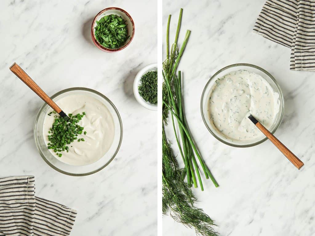 Vegan ranch dressing with chopped dill, chives and parsley