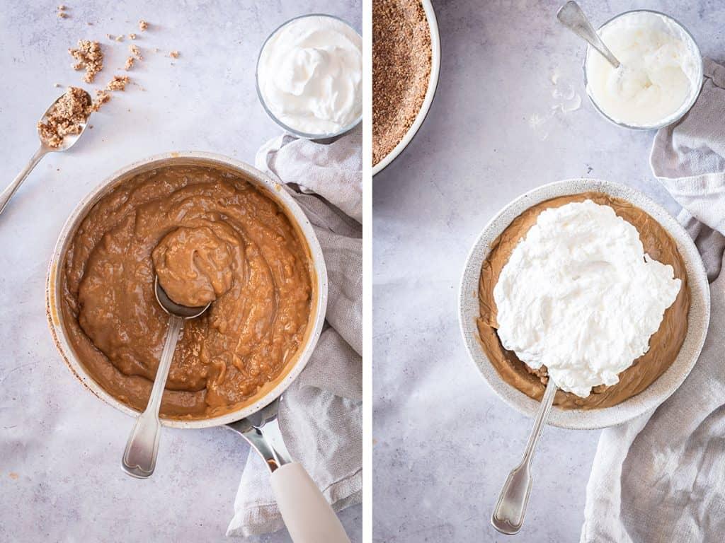 vegan coconut cream pie filling added to pie crust