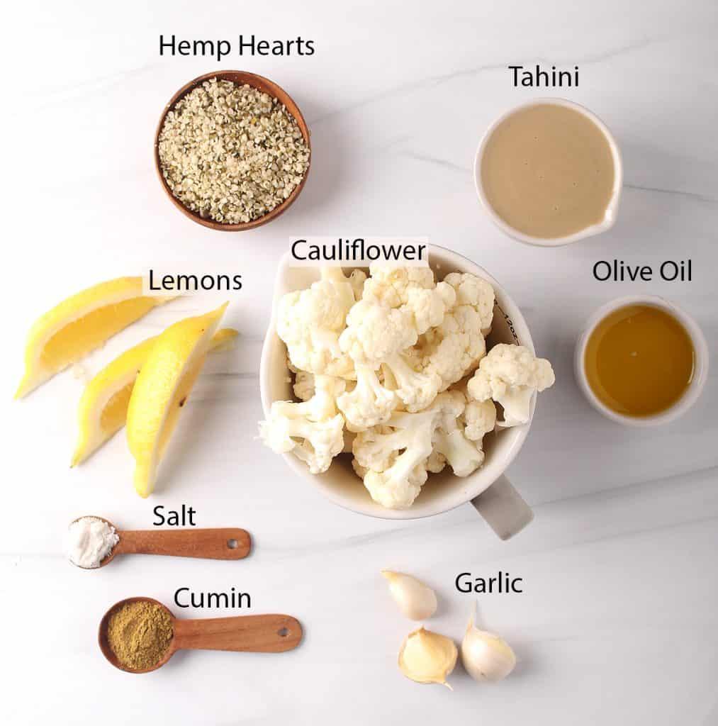 hemp cauliflower hummus ingredients