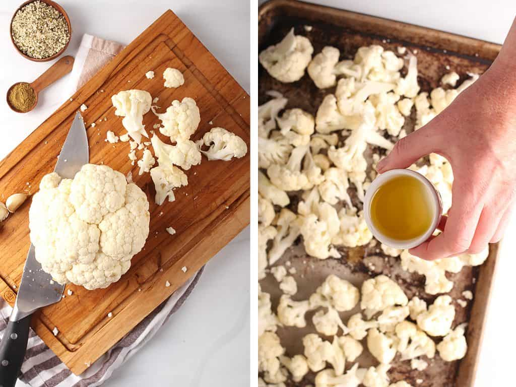 cauliflower chopped on a chopping board and cauliflower florets with olive oil in a baking tray