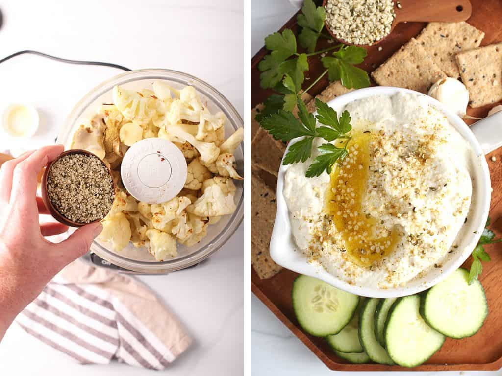cauliflower florets with hemp in d food processor and blended cauliflower Keto hummus with olive oil, crackers and cucumbers